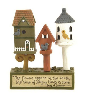 The Flowers Appear, Birdhouse Figurine  -