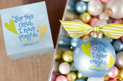 For This Child I Have Prayed, Blue, Ornament to Personalize, Gift Boxed  -