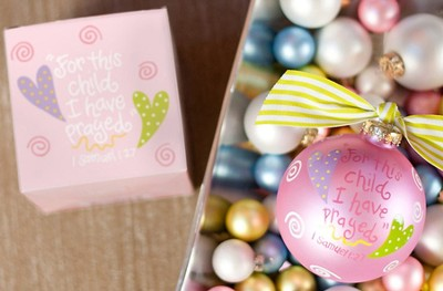 For This Child I Have Prayed, Pink, Ornament to Personalize, Gift Boxed  -