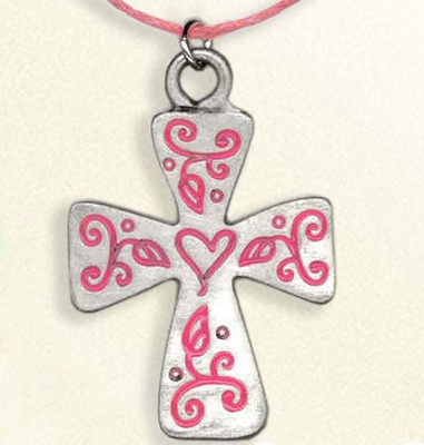 Floral Cross Necklace, on Pink Cord  -