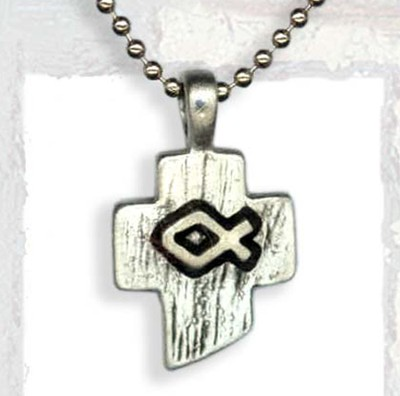 Stylized Cross with Ichthus Pendant, on Bead Chain  -