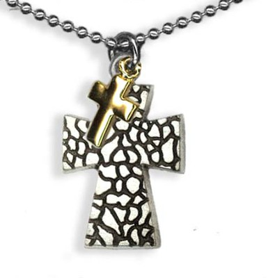 Two Crosses Pendant, on Beaded Chain  -