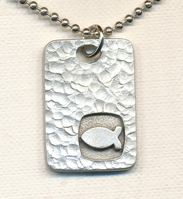 Square Disc Pendant, with Ichthus  -