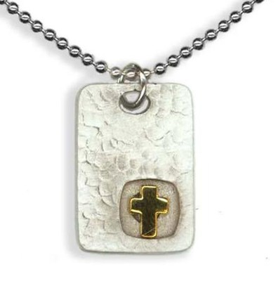 Square Disc Pendant, with Cross  -