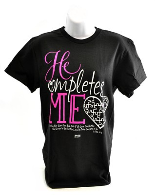 He Completes Me Shirt, Black, Large  -