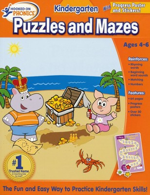 Hooked on Phonics: Kindergarten Puzzles and Mazes   Workbook  -