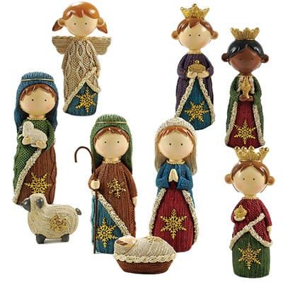 Nativity, Knitted Finish, 9 pieces  -