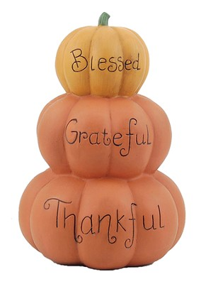 Blessed, Grateful, Thankful Stacked Pumpkin  -