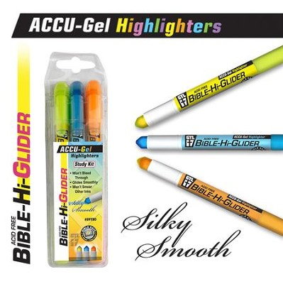 Gel Bible Highlighter, 3 Piece Set, Yellow, Blue, Orange  -