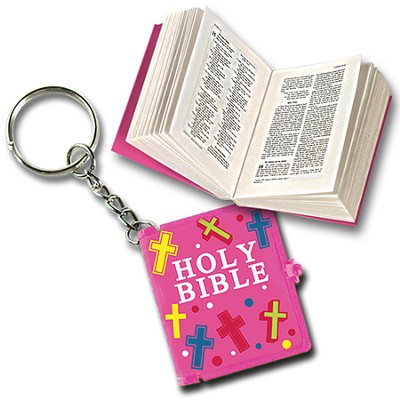 Smallest Bible Keychain, Pink  -