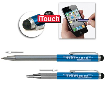 Telescopic Pen with Stylus, Blue  -