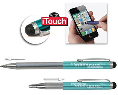 Telescopic Pen with Stylus, Turquoise  -