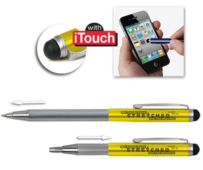 Telescopic Pen with Stylus, Yellow  -