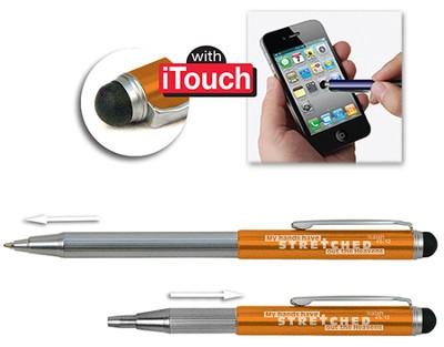 Telescopic Pen with Stylus, Orange  -