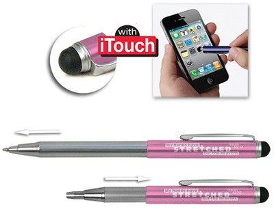 Telescopic Pen with Stylus, Pink  -