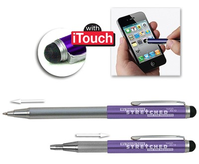 Telescopic Pen with Stylus, Violet  -