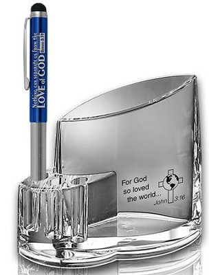 Acrylic Pen Holder, For God So Loved the World  -