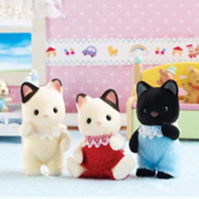 Calico Critters Tuxedo Cat Triplets  -