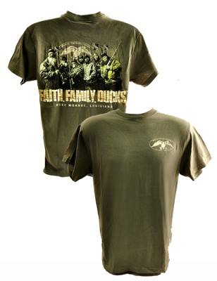 Duck Dynasty, Faith, Family, Ducks Shirt, Moss Green, XX-Large  -