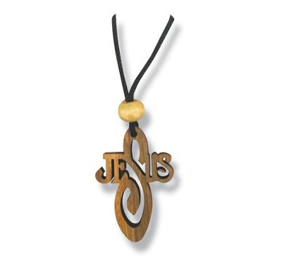 Olive Wood Jesus Name Cross Pendant on Cord  -