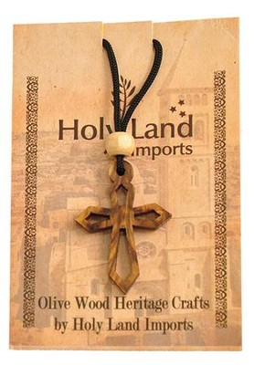Olive Wood Pointed Cross Pendant on Cord  -