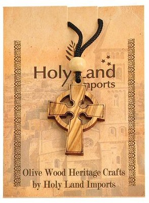 Olive Wood Celtic Cross Pendant on Cord  -