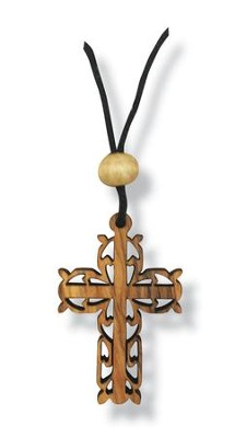 Olive Wood Filigree Cross Pendant on Cord  -