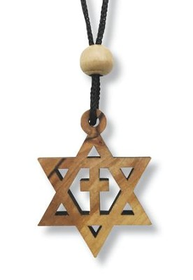 Olive Wood Star of David Cross Pendant on Cord  -