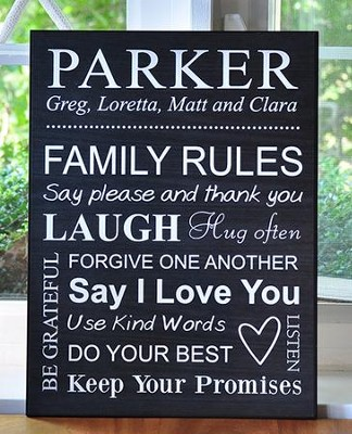 Personalized, Lithograph Plaque, Family Rules, Black   -