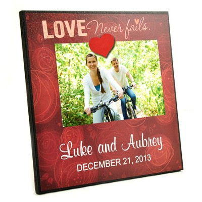 Personalized, Magnetic Photo Frame, Love Never Fails   -