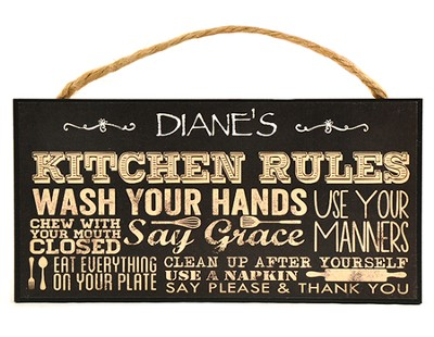 Personalized, Hanging Sign, Kitchen Rules, Black   -