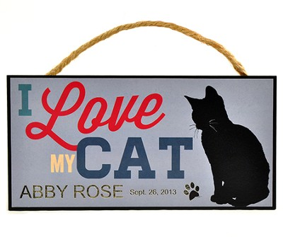 Personalized, Hanging Sign, I Love My Cat   -
