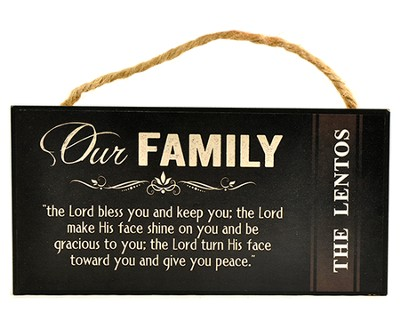 Personalized, Hanging Sign, Our Family, Black   -