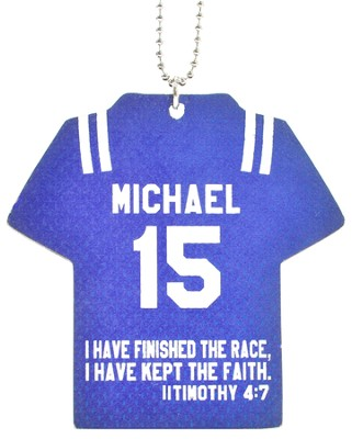Personalized, Jersey Keychain, Keep The Faith, Boy, Blue  -