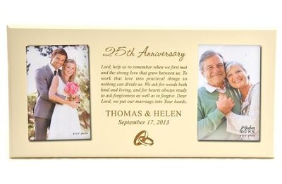Personalized, Double Photo Frame, Anniversary Prayer, Ivory 4X6  -