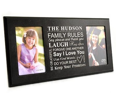 Personalized, Double Photo Frame, Family Rules, Black  4X6  -