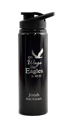 Personalized, Water Bottle, Flip Top, Eagle, Black   -