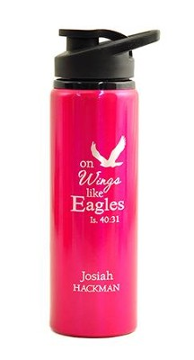 Personalized, Water Bottle, Flip Top, Eagle, Pink   -