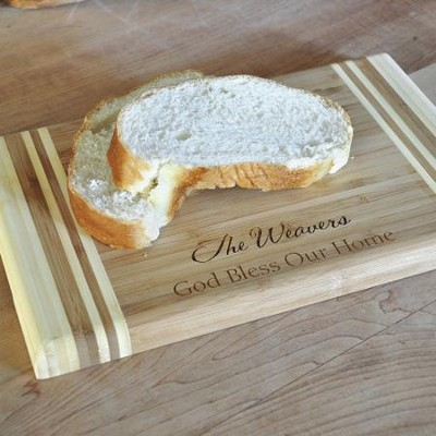 Personalized, Bamboo Cutting Board, Two Toned, God   Bless Our Home  -