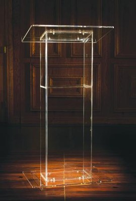 U-Shaped Acrylic Lectern with Shelf (46 x 24 x 16)  -