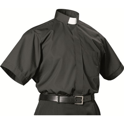 Men's Short Sleeve Black Clergy Shirt with Tab Collar: Size 18 1/2  -