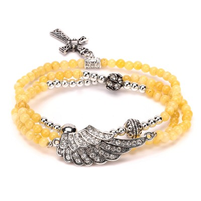 Wrap Cross Bracelet, Yellow  -