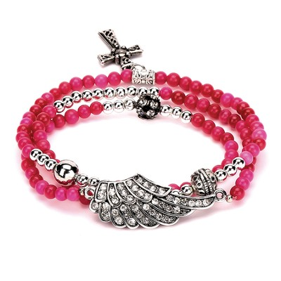 Wrap Cross Bracelet, Raspberry  -