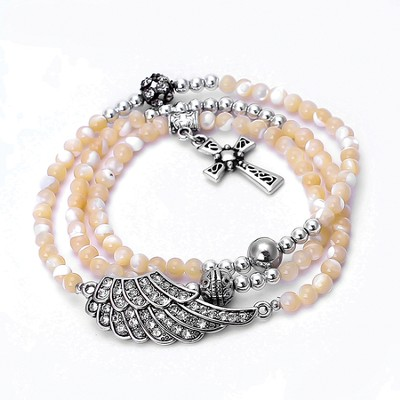 Wrap Cross Bracelet, Cream  -
