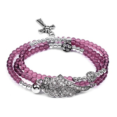 Wrap Cross Bracelet, Amethyst  -