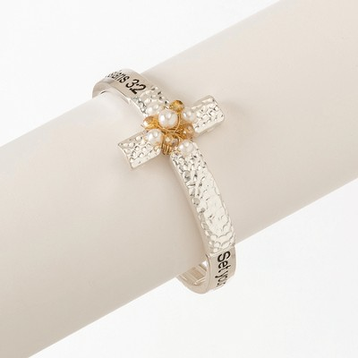 Pearl Stretch Bracelet, Cross  -