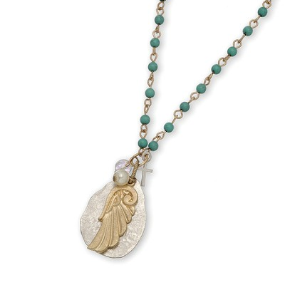 Angel Wing and Charm Disc Necklace, Teal Bead, Gold Wing  -