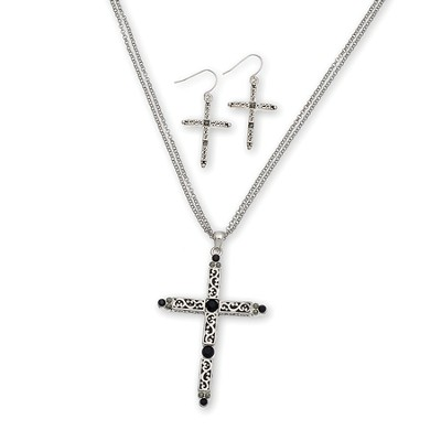 Filigree Stone Cross Necklace and Earring Set, Black Stones  -