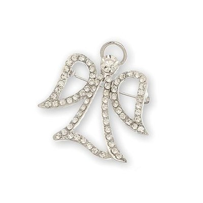 Crystal Stone Filigree Angel Pin, Open Wing, Silver  -
