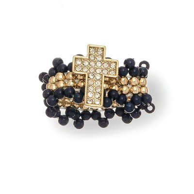 Beaded Pearl Cross Stretch Ring, Black and Gold  -